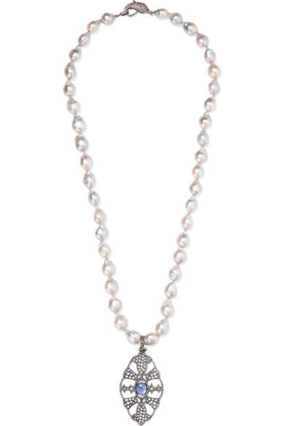 Loree Rodkin stone necklace necklace gold white jewels