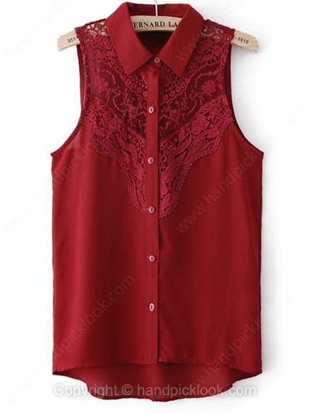 tank top sleeveless maroon burgundy sleeveless blouse lace lace blouses