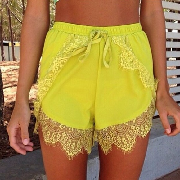 shorts lace shorts yellow lace trimmings yellow shorts fabric shorts