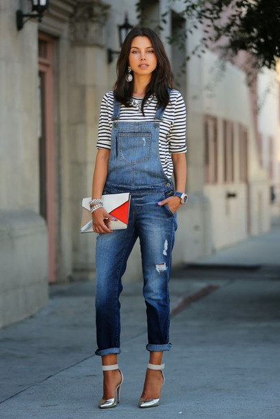 viva luxury t-shirt shoes bag jewels jeans jumpsuit cluth denim denim overalls heels stripped top stripes