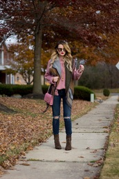 kiss me darling,blogger,sweater,jeans,shoes,scarf,jewels,sunglasses,fall outfits,pink bag,pink sweater,cardigan,boots,bag