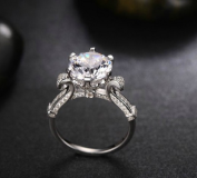 925 sterling silver 18k white gold plated 4ct nscd synthetic diamond rings