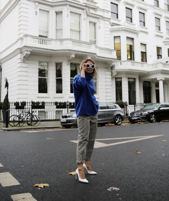 sweater tumblr blue sweater pants grey pants pumps pointed toe pumps high heel pumps white shoes sunglasses white sunglasses