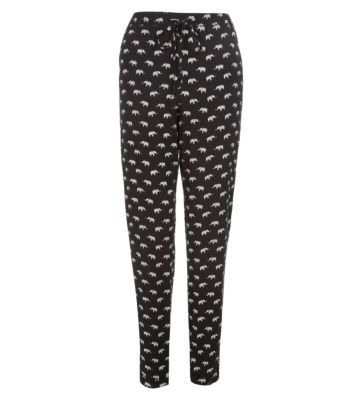 Monochrome Elephant Print Slim Leg Trousers