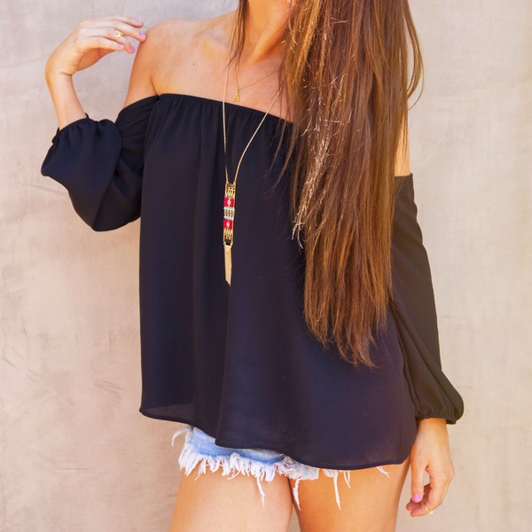 top off the shoulder top black shorts jewels boho blouse shirt black long sleeve shirt