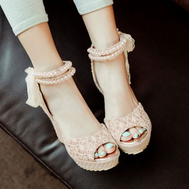 Shoes Sandals Cute High Heels Bows Pink Hipster