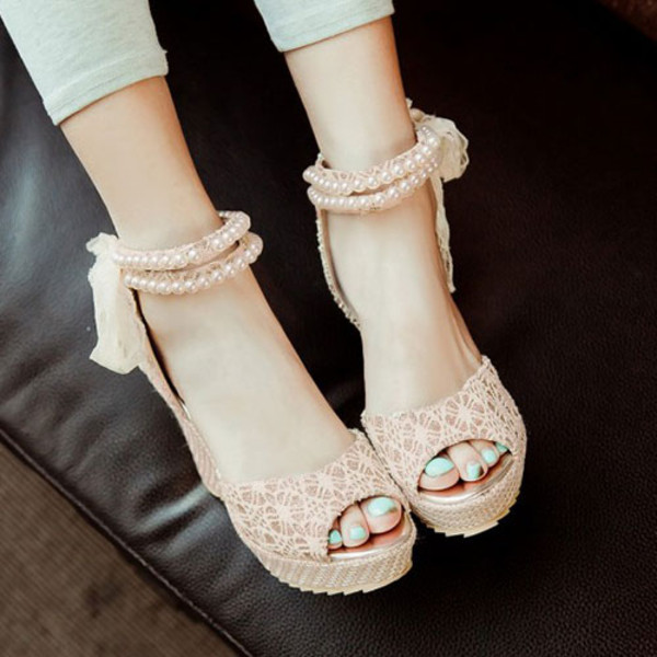 shoes sandals cute high heels bows pink hipster indie prom dress wedges. 7c115967b5
