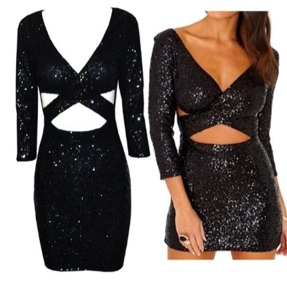 sequins sequin dress black party clubwear sexy criss cross cut-out