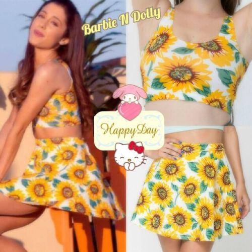 High Waisted Sunflower Denim Skirt & Crop Tank   Free Sunflower Headband