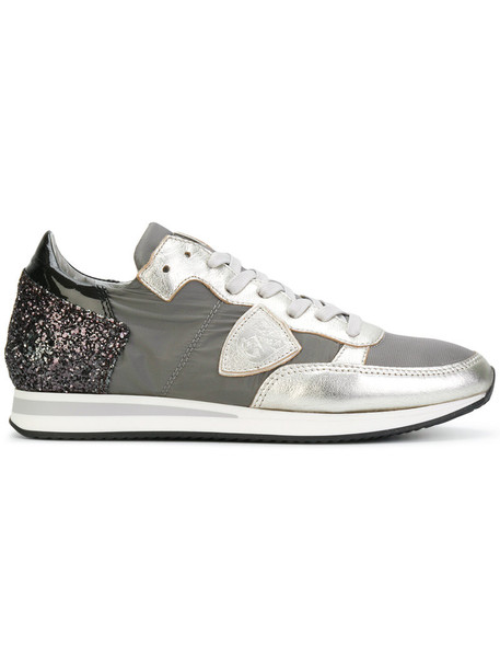 Philippe Model women sneakers leather grey metallic shoes