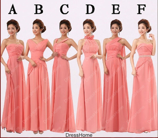 dress coral bridesmaid dress long bridesmaid dress