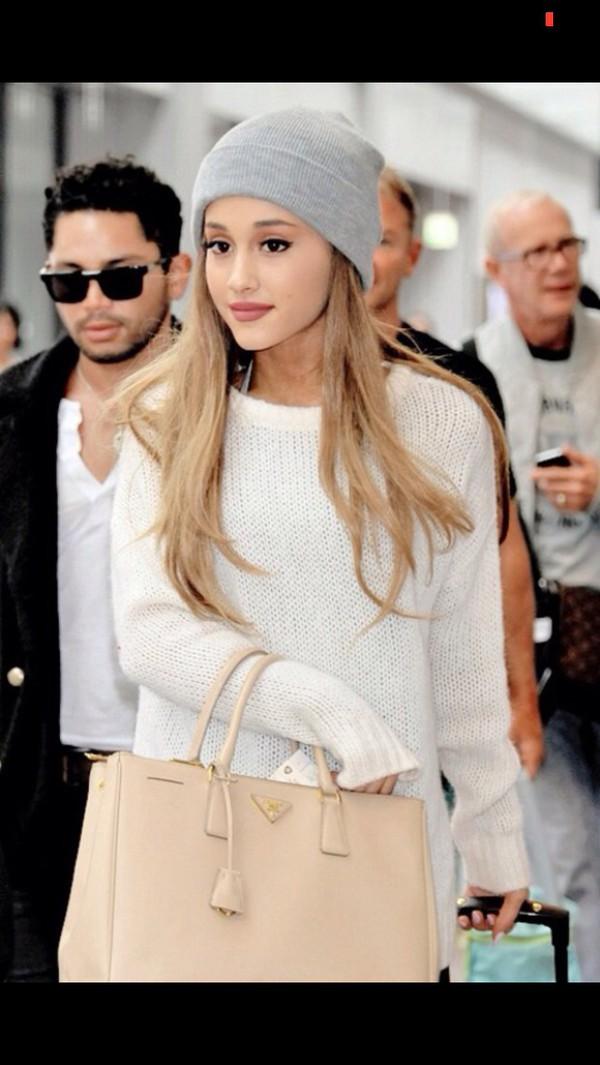 bag ariana grande white dress cardigan sweater pink hat beanie cute sweaters cute dress cute