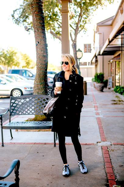 krystal schlegel blogger coat sunglasses bag shoes leggings top