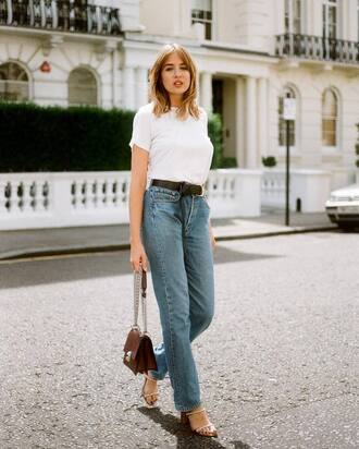 jeans tumblr blue jeans sandals sandal heels high heel sandals t-shirt white t-shirt bag brown bag