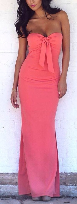 dress coral; long; dress coral; long; dress romantic