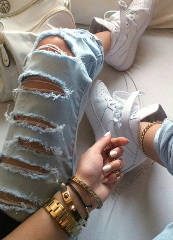 jeans shoes jewels ripped jeans