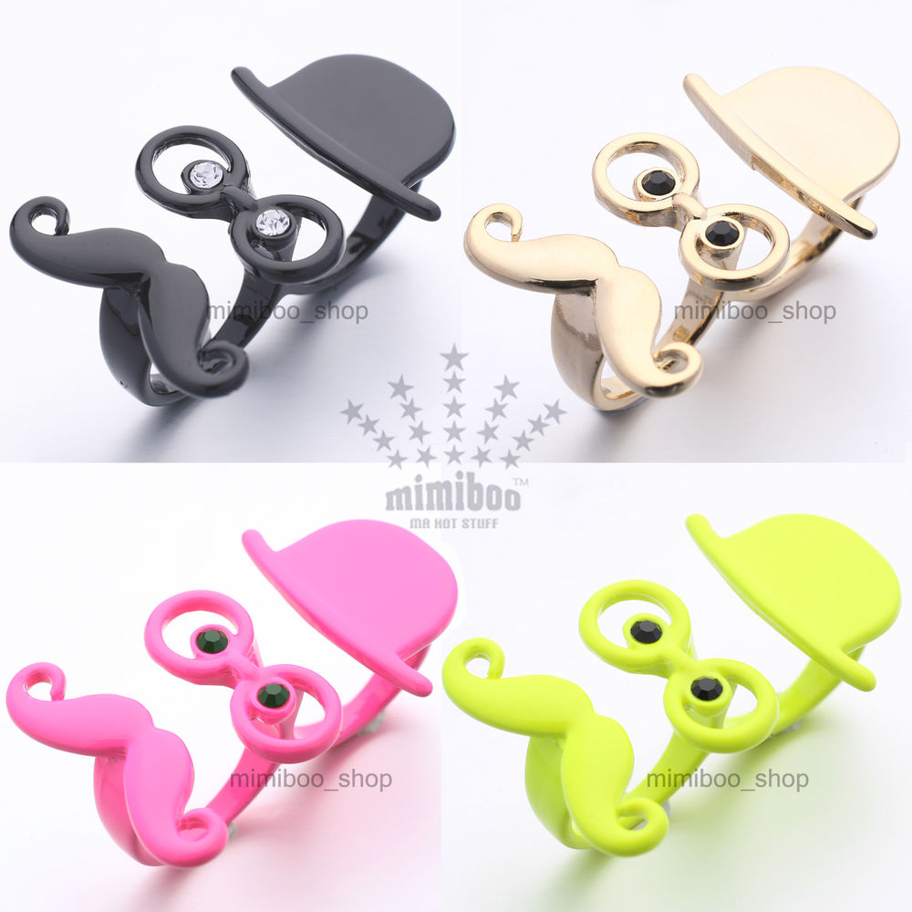 Sir Thing Gentleman Fedora Mustache 2 Two Finger Double Ring Various Colors Size   eBay