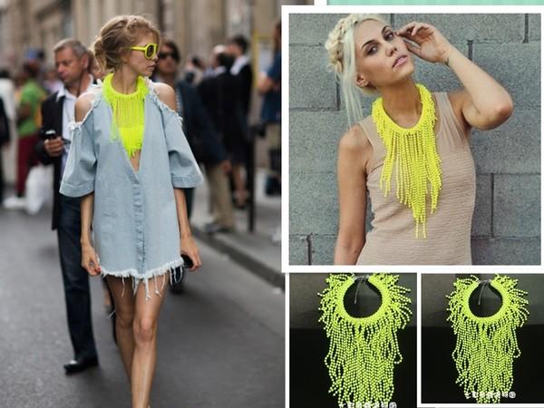 jewels tassel necklace neon aliexpress