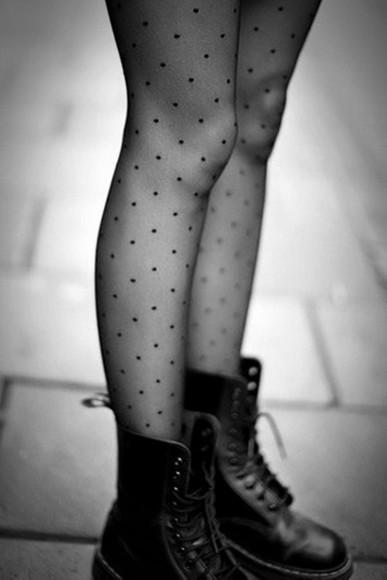 dots tights mesh gray