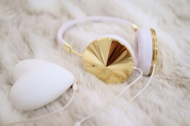 stud headphones technology holiday gift valentines day gift idea college frends hair accessory earphones home accessory gold youtube gold and white white music shiny