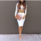 shirt,skirt,dress,classy,heels,hair,jumpsuit,white,two piece dress set,both please,gold,white crop tops,pencil skirt,gold belt,bag,pink,clutch,two-piece,white shoes,open toes,white dress,open toe high heels,nail polish,shoes,belt