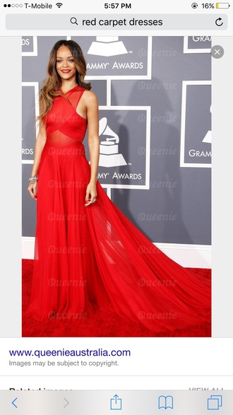 dress red dress rihanna prom dress beautiful chic gown red prom dress see through