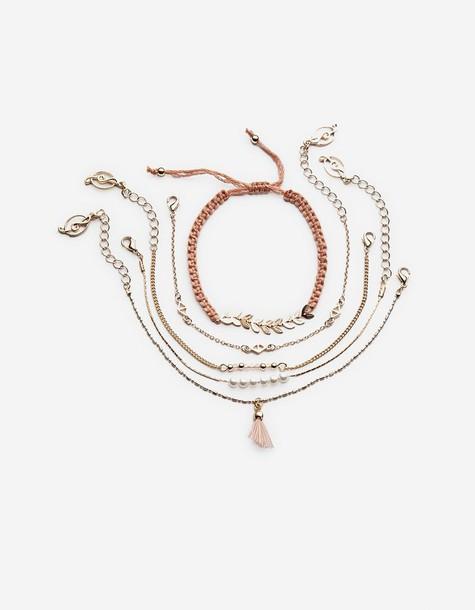 Stradivarius romantic bracelets yellow jewels