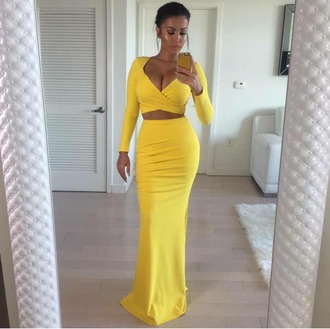 dress yellow two piece dress set maxi skirt classy