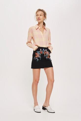 skirt denim floral black bright