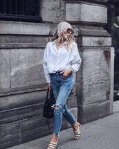 jeans,ripped jeans,high waisted,white shirt,mules,bag,sunglasses