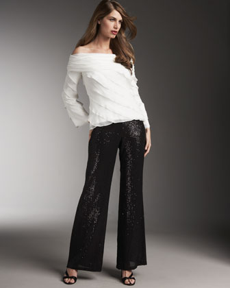 Sequin Wide-Leg Pants - Last Call by Neiman Marcus