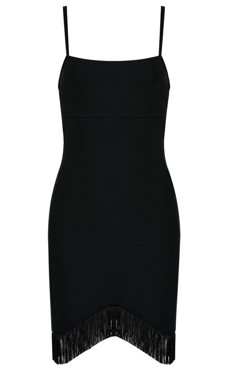 Tassel Bandage Dress Black
