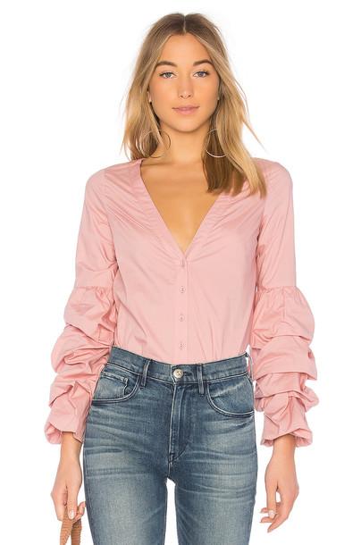 L'Academie blouse pink top