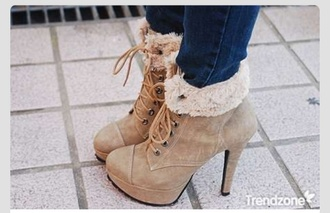shoes tan boots ankle boots fur faux fur high heels laced high heels