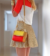 skirt,gold sequins,sequin skirt,gold skirt,shirt