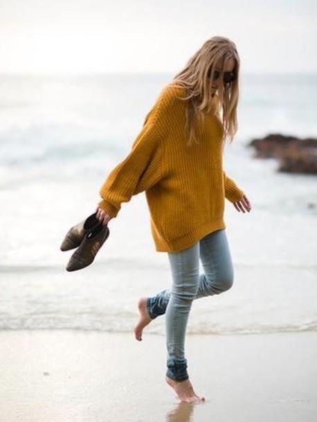 sweater mustard wool sweater beach cozy sweater mustard sweater