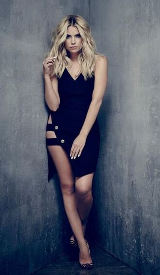 dress asymmetrical dress sexy dress little black dress ashley benson pumps pretty little liars party dress hanna marin slit dress black dress celebrity