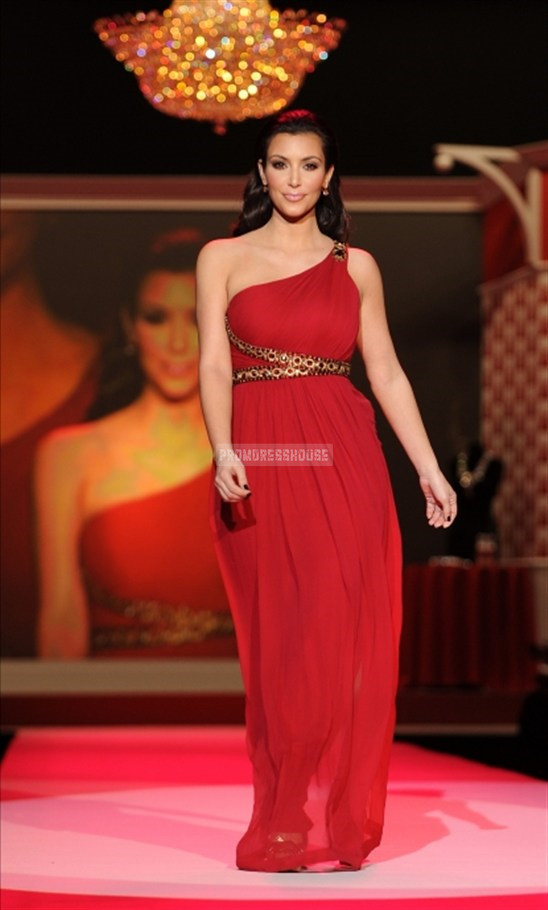 Red Empire Noble A-line One Shoulder Celebrity Dress - Promdresshouse.com