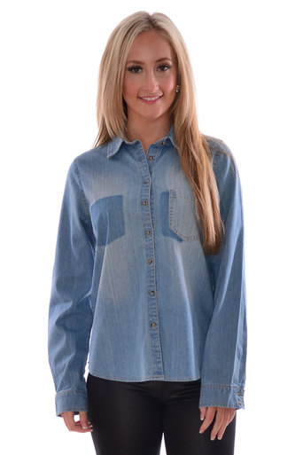 Lia Long Sleeve Denim Blouse - Pop Couture