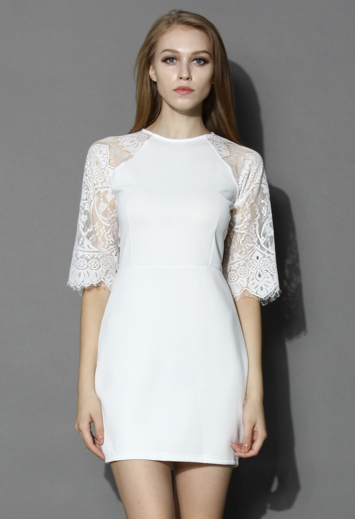 Lace Panel Shift Dress in White - Retro, Indie and Unique Fashion