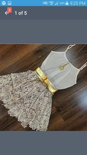 dress white gold bow tank top see through skirt