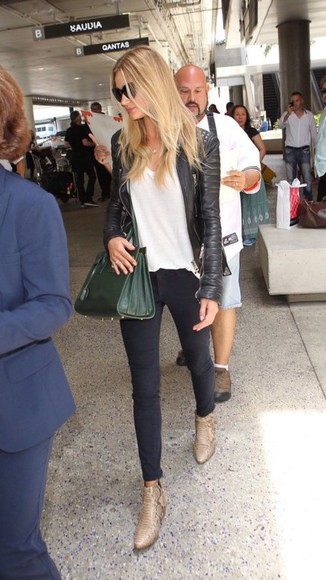 jacket black jacket leather jacket black leather jacket biker jacket rosie huntington-whiteley