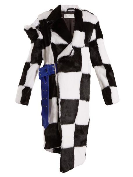 MARQUES ALMEIDA coat fur coat fur white black