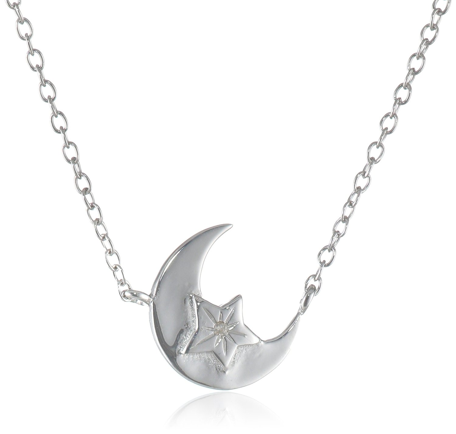 """Amazon.com: sterling silver stationed moon and star diamond accent necklace, 16"""" 2"""" extender: jewelry"""