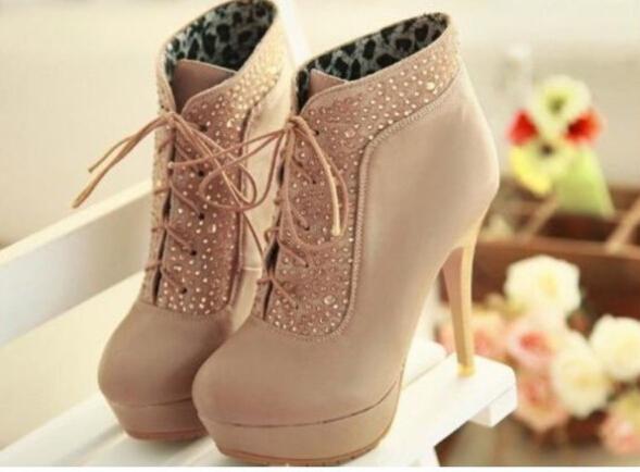 Fashion hot rhinestone shining heel heel shoes two wear style long or short