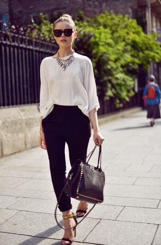 pants office outfits kayture kristina bazan top blogger lifestyle blogger shirt white shirt necklace statement necklace sunglasses black sunglasses bag valentino black bag sandals black sandals black pants office pants