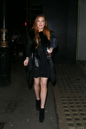 coat boots all black everything lindsay lohan