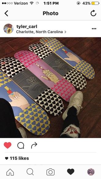 home accessory middle finger middle finger board baker almost shortys leon carson powel peralta checkers heart odd future skateboard penny board thrasher shirt ian connor white checkers
