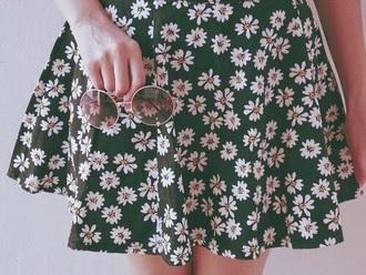 skirt flowers black floral skater skirt