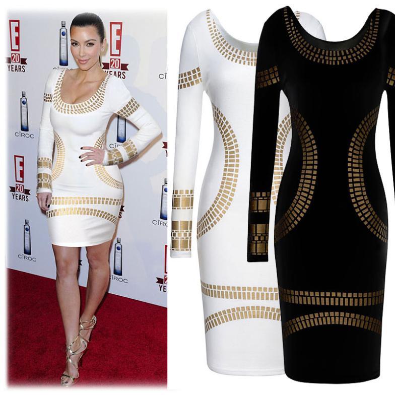 long sleeve knee-length print dress plus size women pencil dress new in 2014 fashion casual dress | Amazing Shoes UK